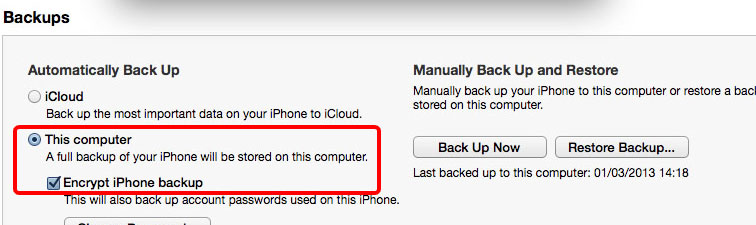 iTunes iPhone encrypted backup
