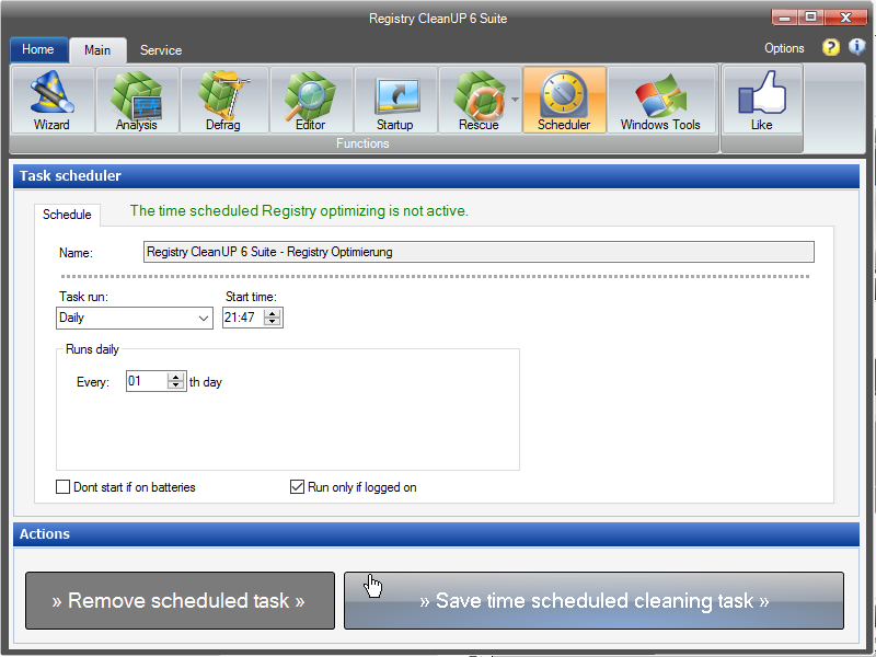 Registry cleaning scheduler
